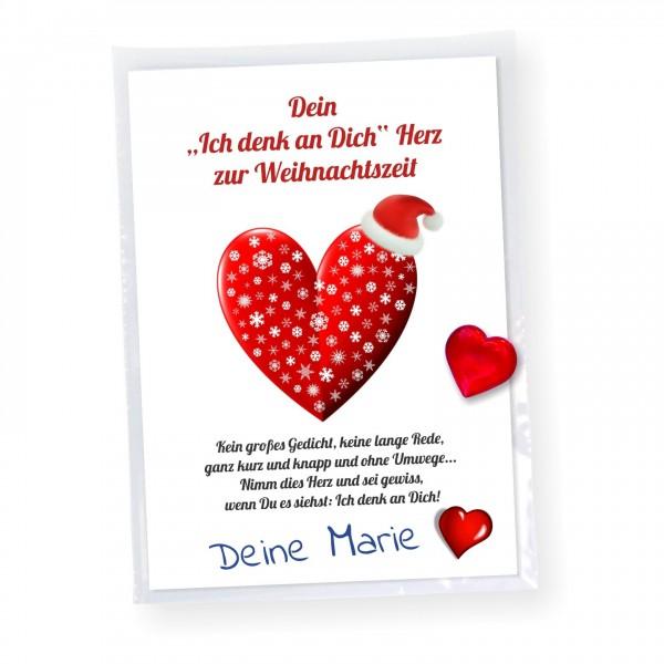 Weihnachtskarte Aufmerksamkeit Herz Freundin