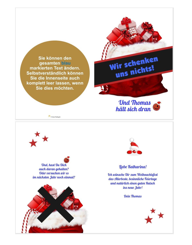 Ideen F303274r Weihnachtskarten.Wir Schenken Uns Nichts