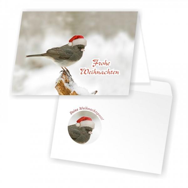 Weihnachtskarten Umschlag Weihnachtsvogel Süss