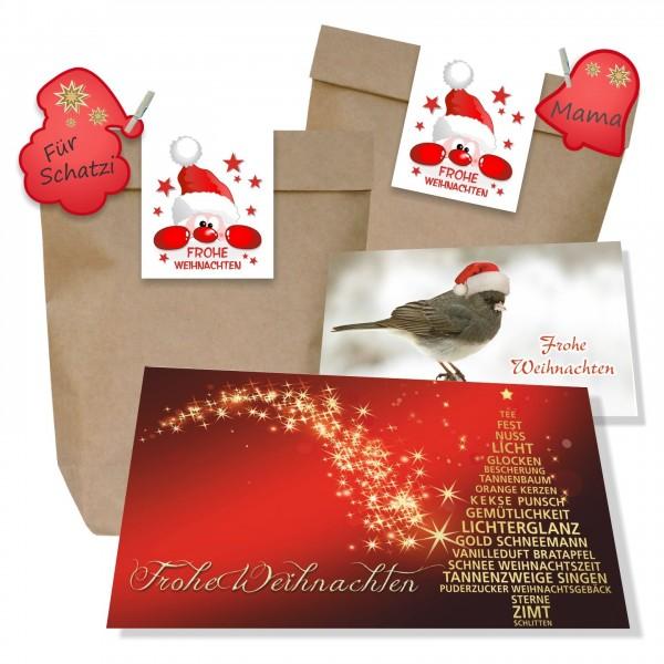 Weihnachtsset Mit Grußkarte Aufkleber