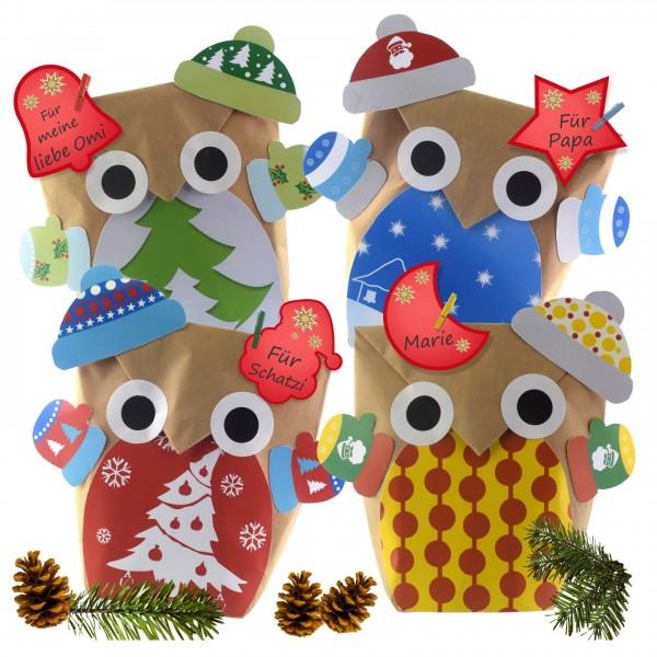 Weihnachtliche Geschenktüten Eulen Basteln